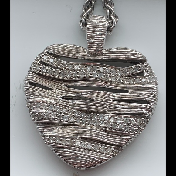 Effy Jewelry - Effy 925 sterling silver and diamond heart pendant